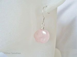 Pastel Baby Pink Rose Quartz Pig Beads & Sterling Silver Fashion Earrings